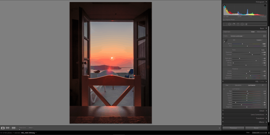 Kasimatis Suites Santorini sunset Lightroom develop 24102018