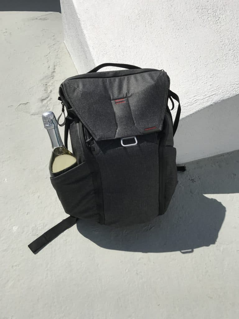 A bottle of Prosecco in my Peak Design Everyday Backpack