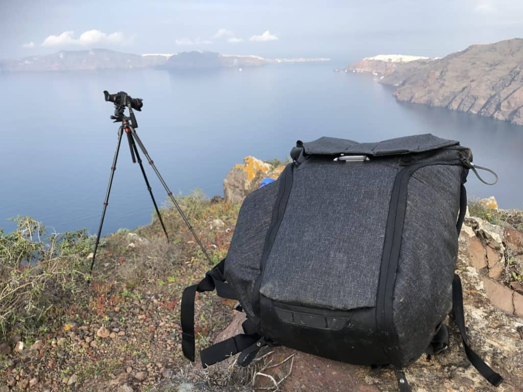 Peak Design Everyday Backpack on the Santorini caldera